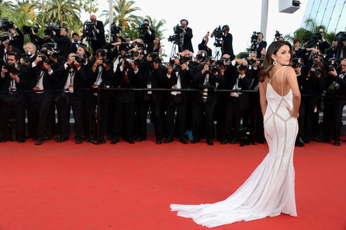 From the back, Eva revealed her glamorous train and strappy back details.