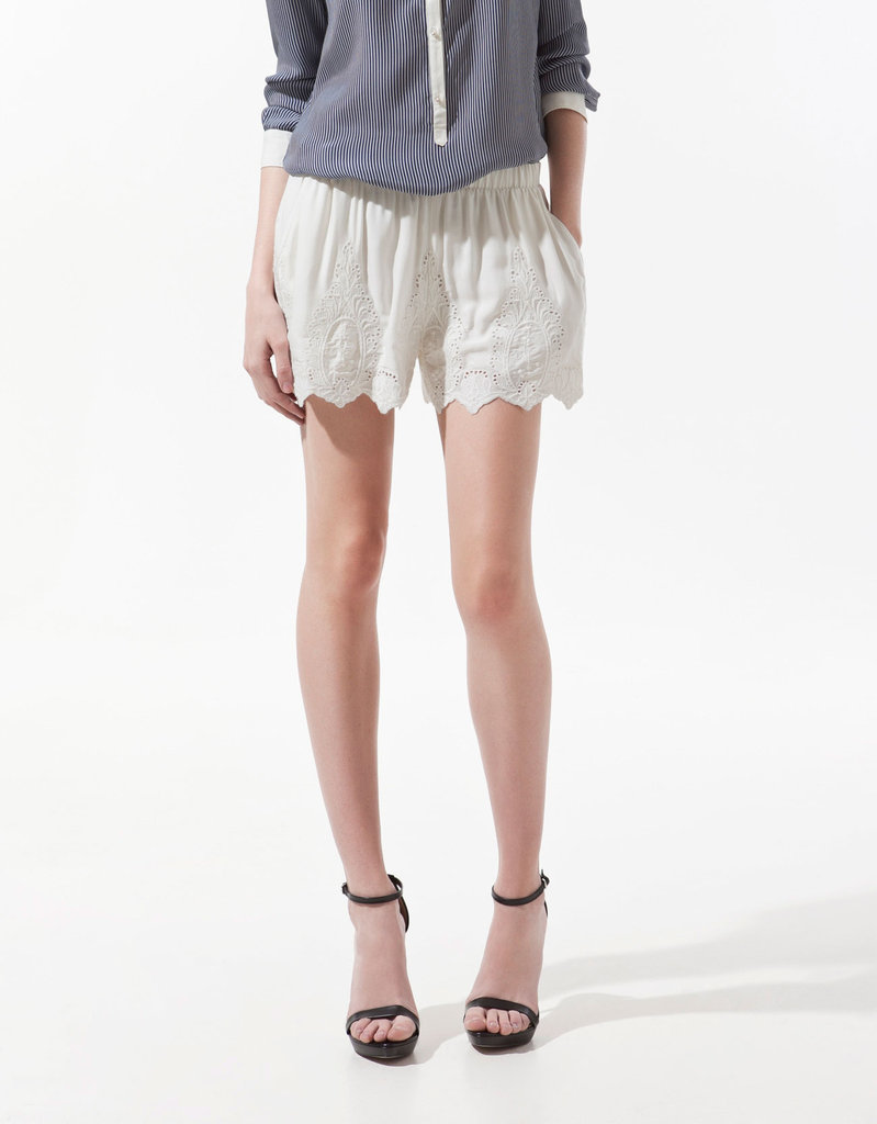We love these sweet, lacy shorts. Try styling them with a button-up blouse and heels.  Zara Embroidered Shorts ($60)