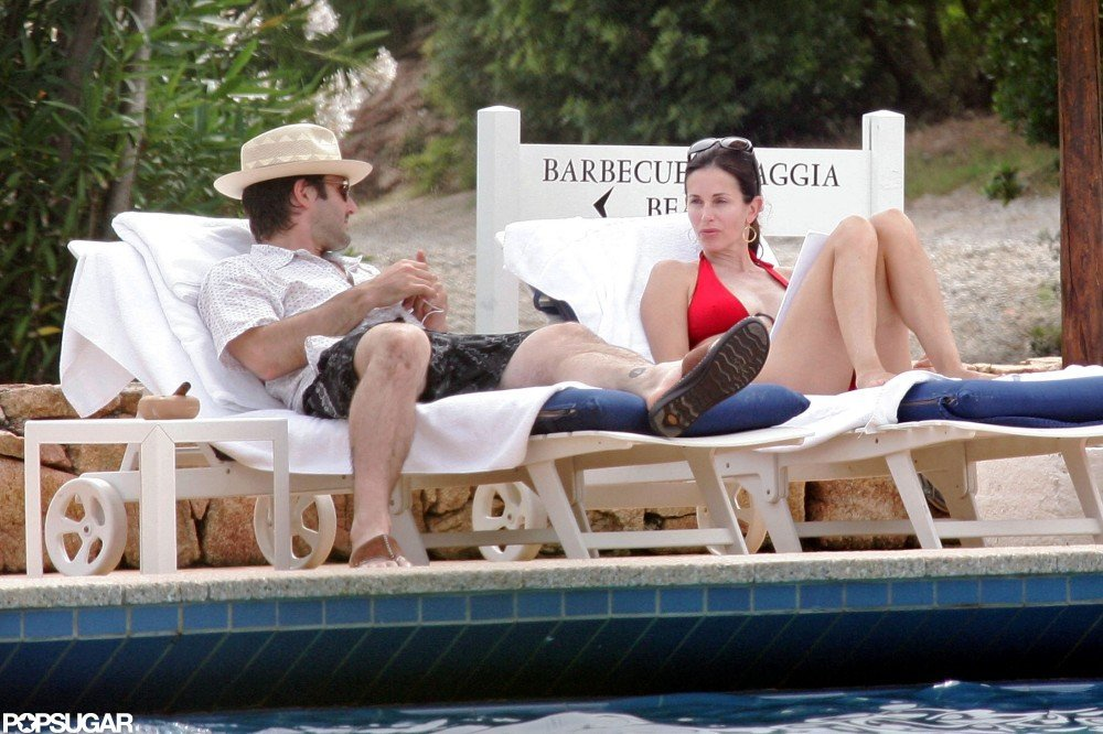 Courteney Cox and David Arquette relaxed at their Porto Cervo, Sardinia, resort in June 2006.