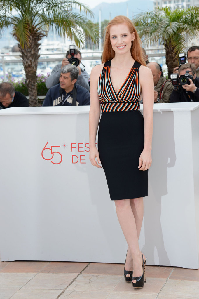 Jessica showed off her LBD with a colourful neckline at the photocall.