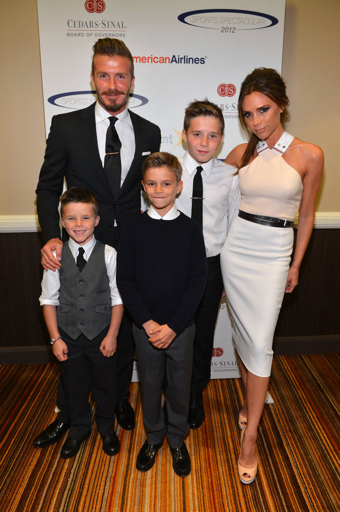 David and Victoria Beckham posed with their boys at the annual Sports Spectacular benefit in LA in May 2012.