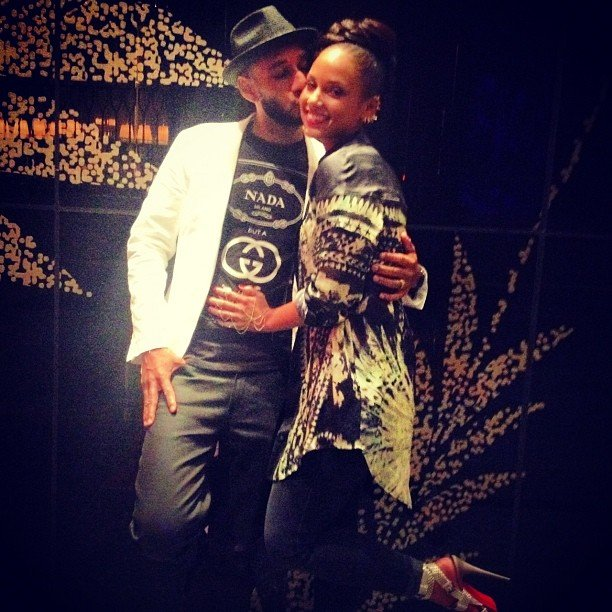 Swizz Beatz planted a kiss on wife Alicia Keys before heading to the Billboard Music Awards afterparty.  Source: Instagram user therealswizz