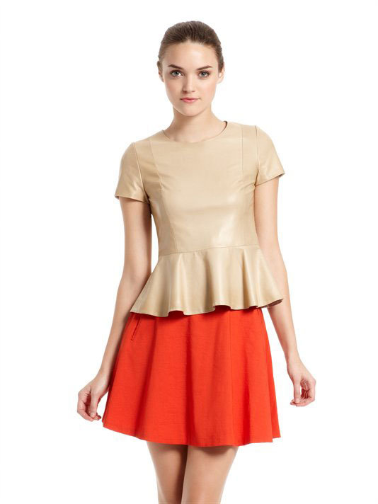DKNY Leather Blouse With Peplum ($895)