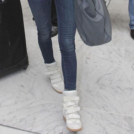 Irina Shayk in White Hightop Sneakers