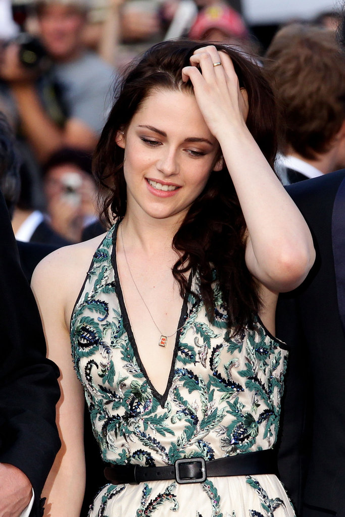 We get a closer glimpse of the beading on Kristen Stewart's Balenciaga gown.