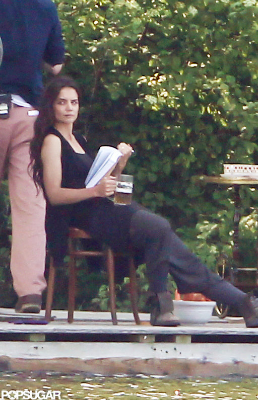 Katie Holmes took her place on set while filming her next project.