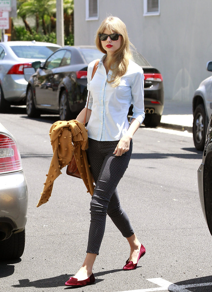 Taylor Swift didn't take the day off but logged time at an LA studio.