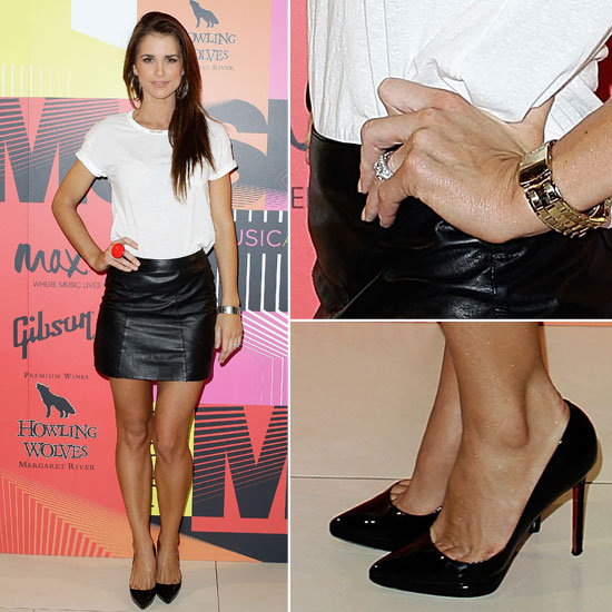 Vogue Williams Opts For a Classic White Tee + Leather Skirt Combo at the 2012 APRA Awards in Sydney: Shop Her Look!