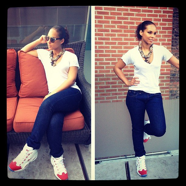 Alicia Keys showed off a cool pair of kicks designed by her husband Swizz Beatz and Reebok.  Source: Instagram user aliciakeys