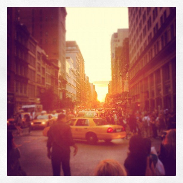 Streets lined with sunset enthusiasts.