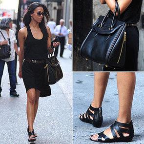 Zoe Saldana Black Dress NYC May 2012