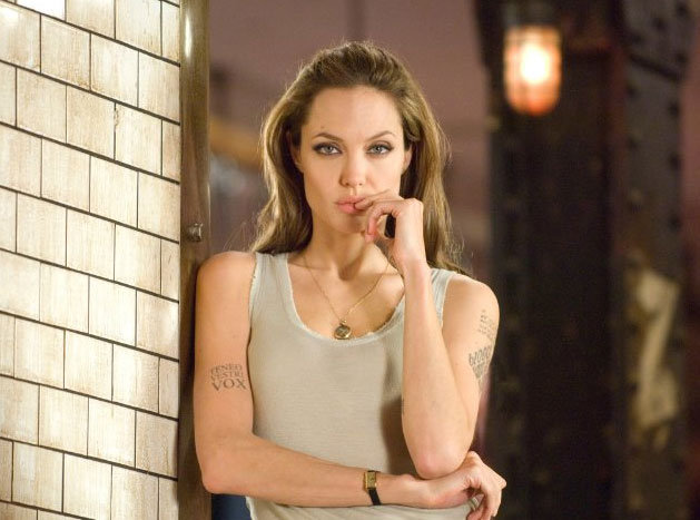 Angelina Jolie wore a muscle tank for a promotional photo for her 2008 release Wanted. Photo courtesy of Universal