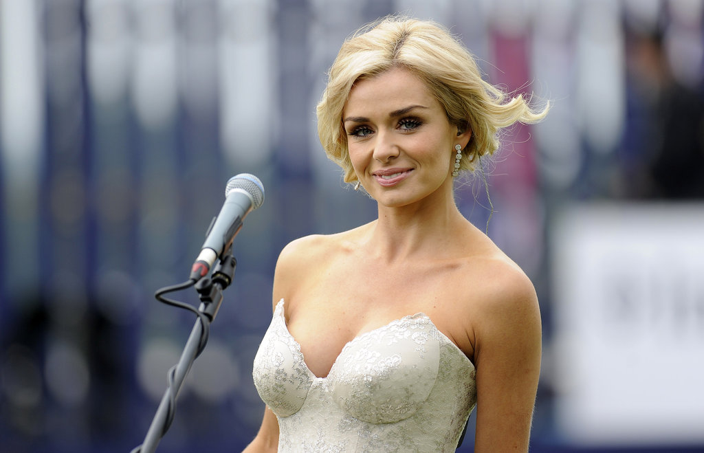 Katherine Jenkins prepared to sing the national anthem.