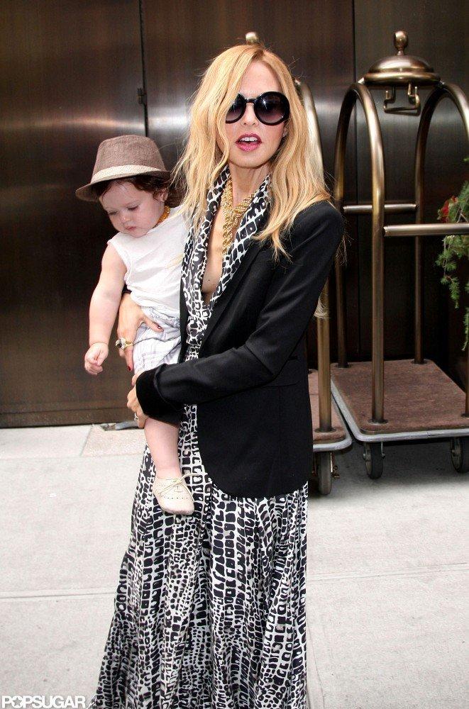Rachel Zoe wore a black blazer and a dress in NYC.