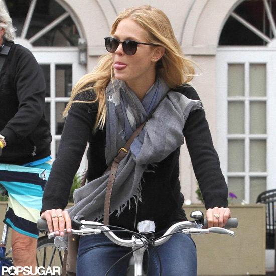 Erin Heatherton looked stylish for a bike ride around NYC.
