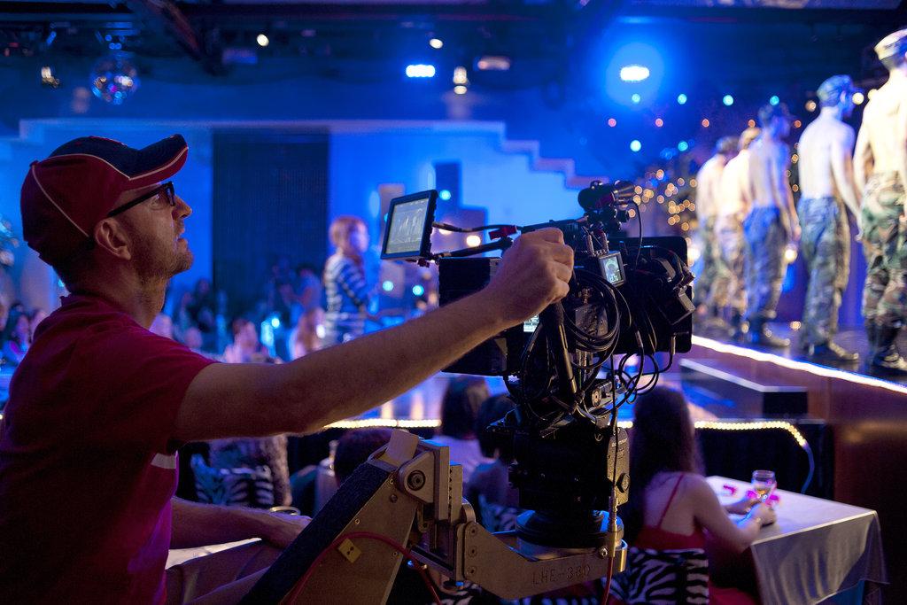Director Steven Soderbergh on the set of Magic Mike.