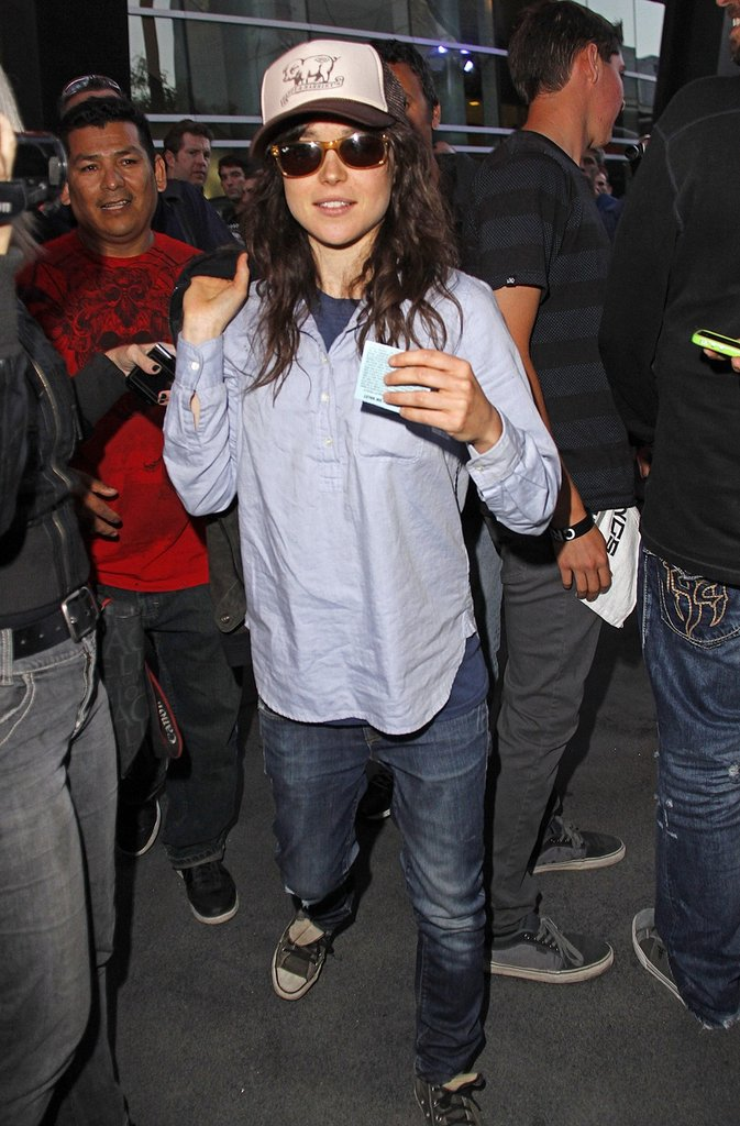 Ellen Page walked out of the Staples Center after the LA Kings Stanley Cup finals game in LA.