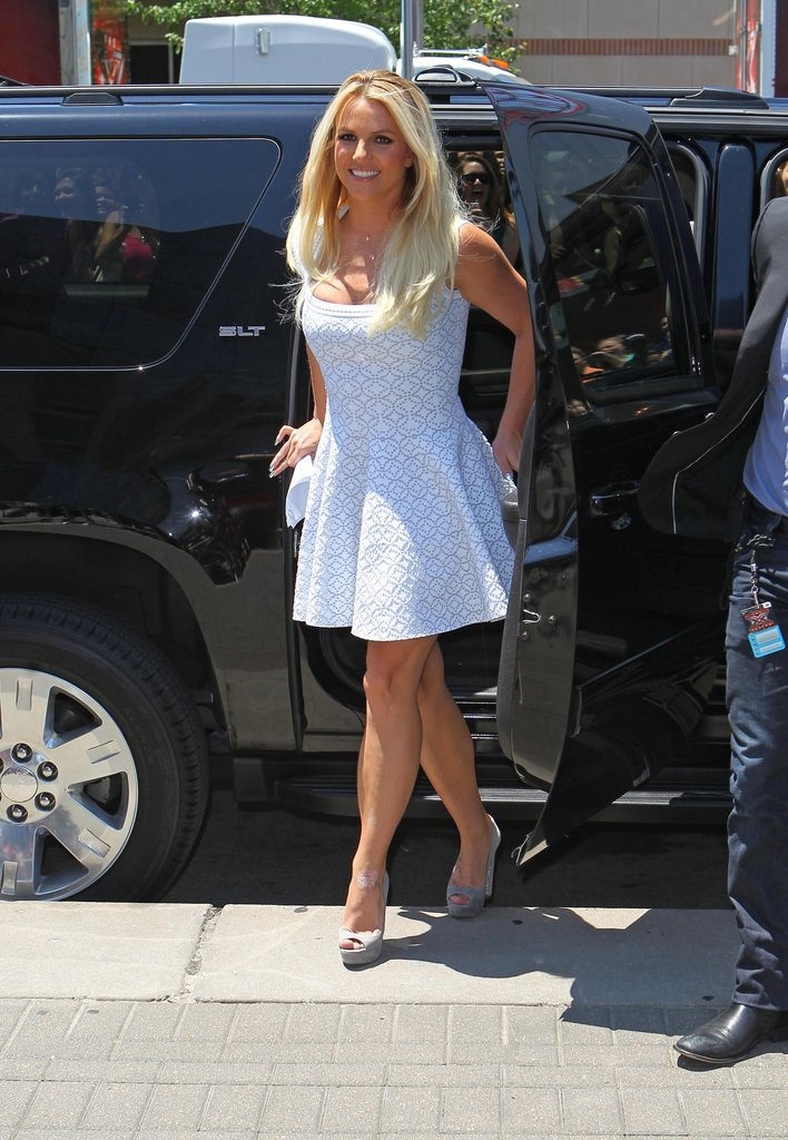 Britney Spears sported platform pumps.