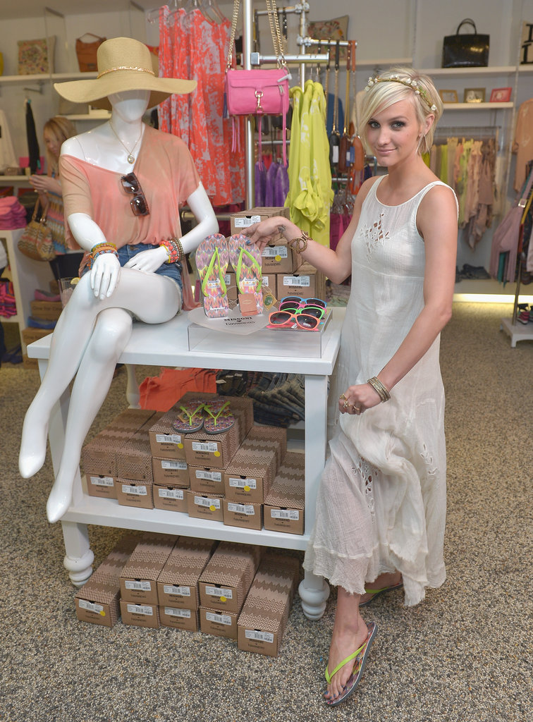Ashlee Simpson showed off the new flip-flops at Kitson in Beverly Hills.