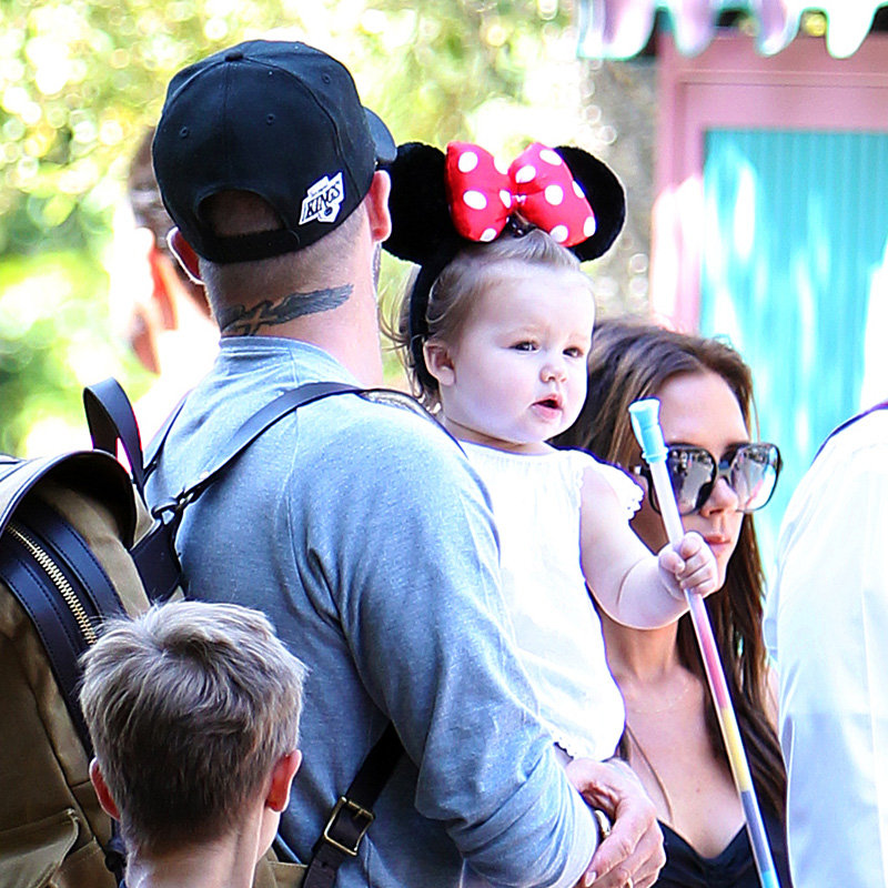 Harper Beckham Wears Minnie Mouse Ears at a Family Outing to Disneyland