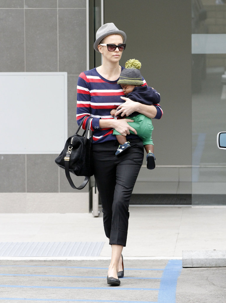 Charlize Theron held on tight to baby Jackson.