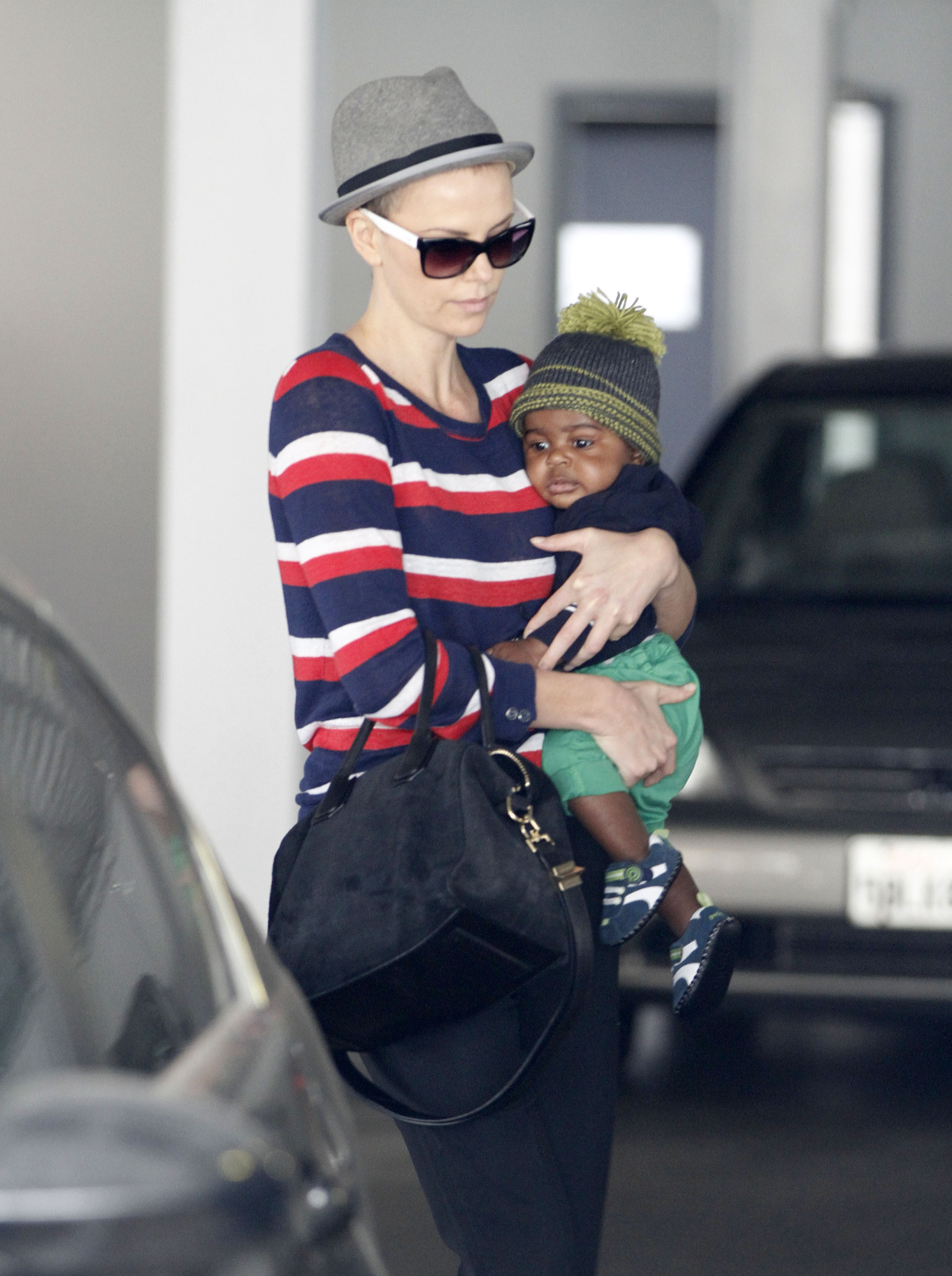 Charlize Theron carried Jackson in Beverly Hills.