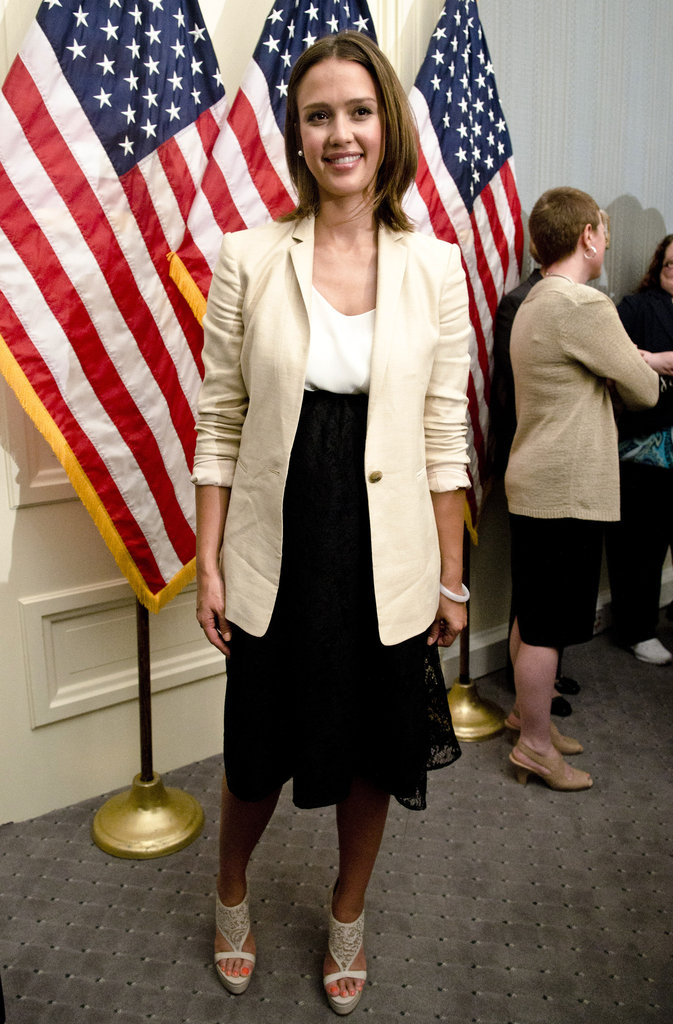 Jessica Alba spoke at a press conference in Washington DC in May 2001.