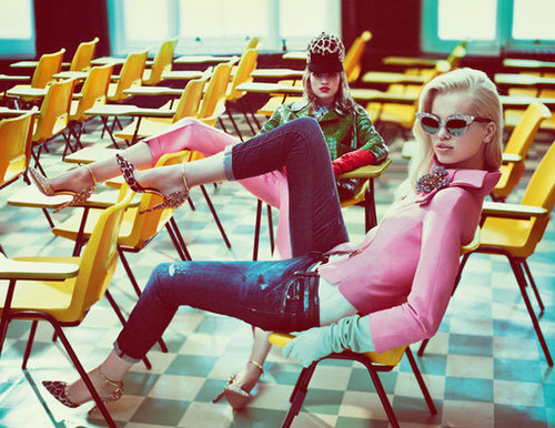 This DSquared2 Fall '12 ad totally evokes a Grease Pink Lady vibe.