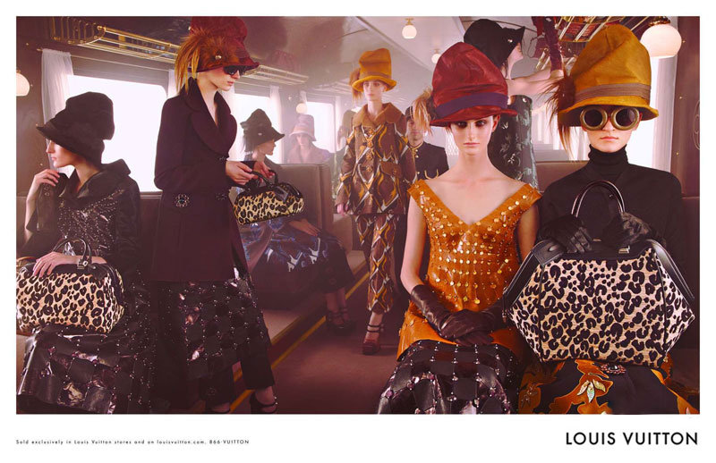 Louis Vuitton continues with its luxe train theme, showing off its Fall '12 collection in an old-school boxcar.