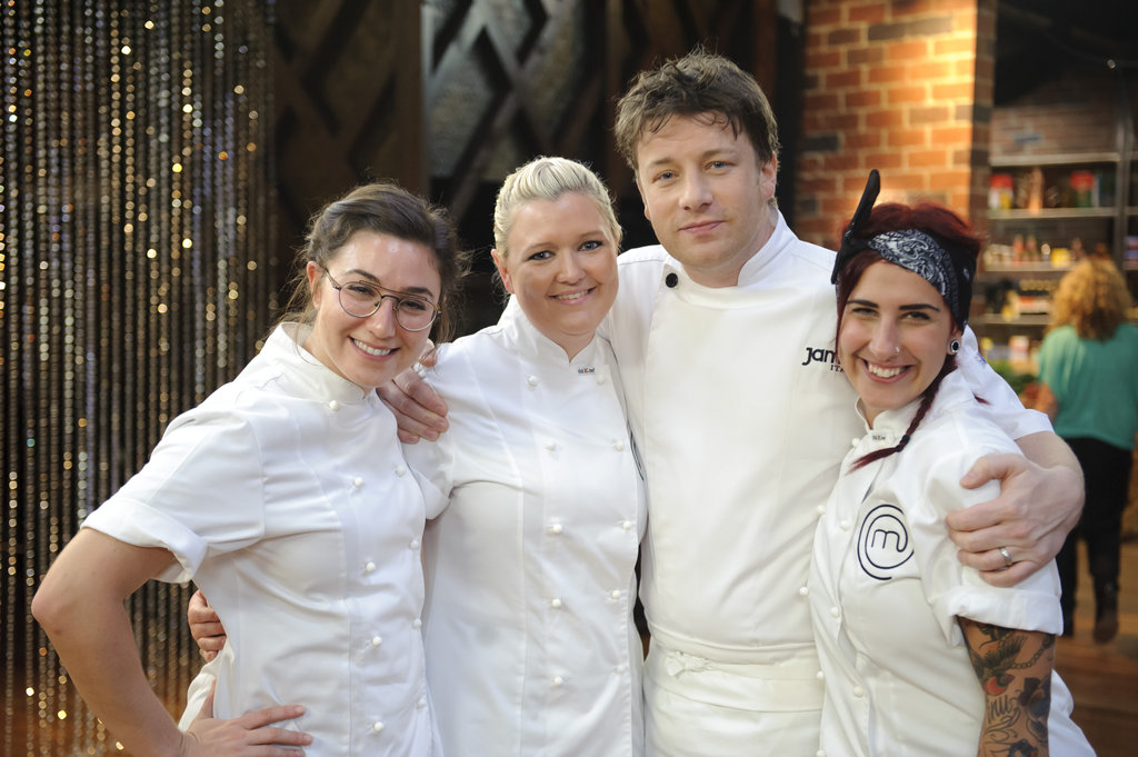 Alice, Jules and Tregan with Jamie Oliver.