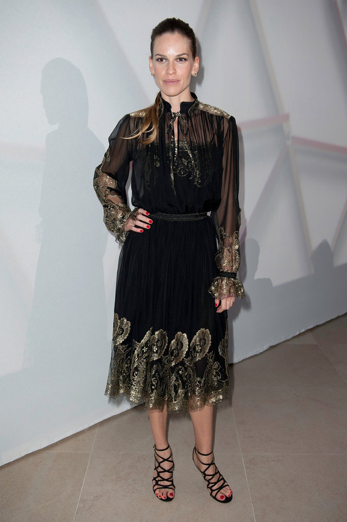 Hilary Swank struck a pose at the Salvatore Ferragamo Resort collection show in Paris.