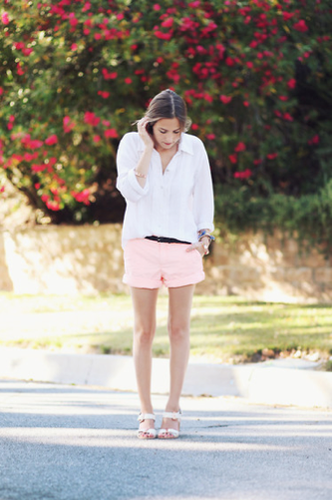 Pastels feel instantly Summery — especially when added to an effortless white button-down.  Photo courtesy of
