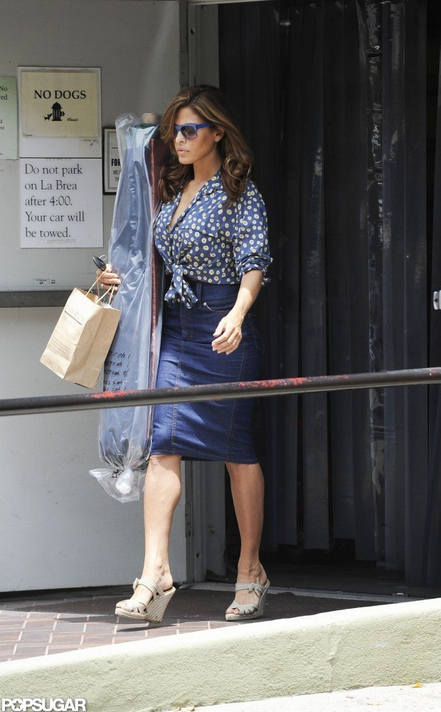 Eva Mendes returned to her car after shopping at a foam and fabric store in LA.