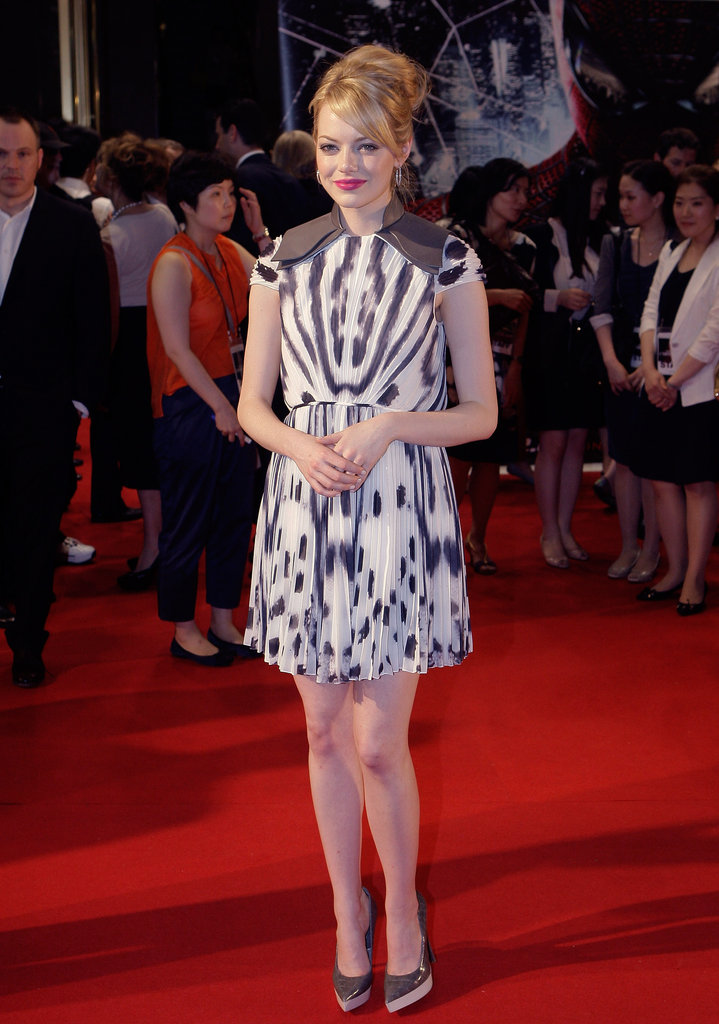Emma sported a printed gray and white Fendi chiffon sheath with Stella McCartney pumps at the South Korea premiere of The Amazing Spider-Man.