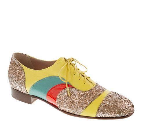These colorful sequined oxfords are simply magical: we'd wear it with just about anything for a whimsical touch.  Creatures of the Wind Psychedelic Oxfords ($295)