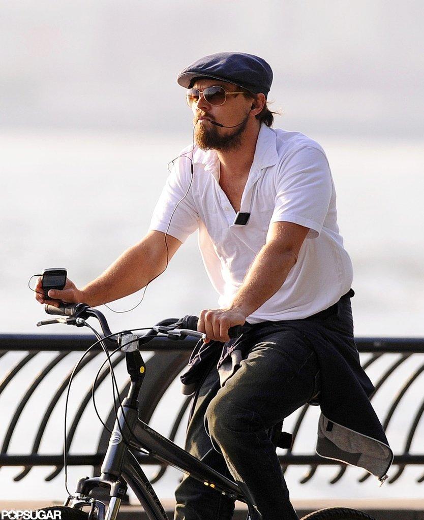 Leonardo DiCaprio rode his bike.