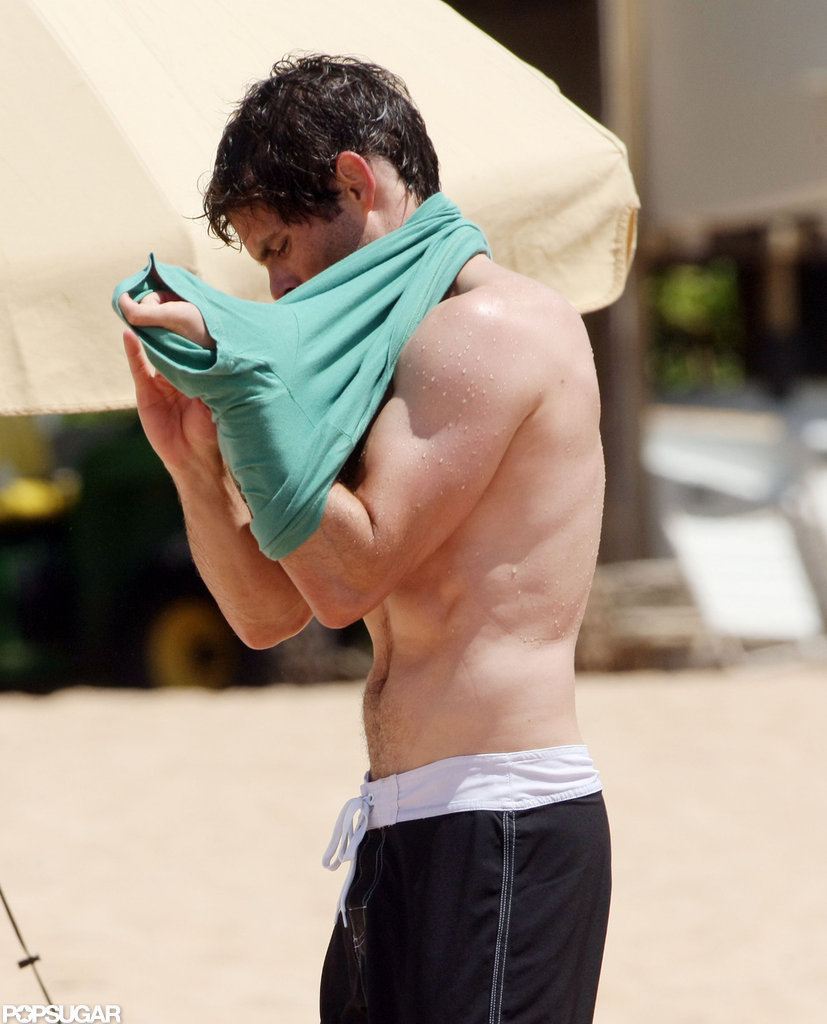 James Marsden showed off his ripped body on the beach in Hawaii.