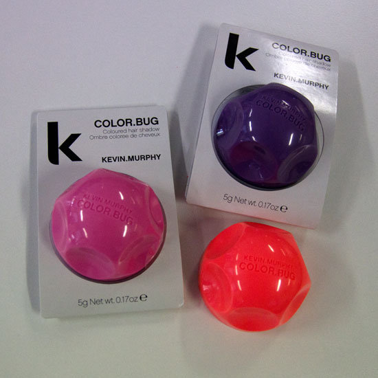 What they are? KEVIN.MURPHY Color.Bugs ($24.95 each). They're coloured hair powders that add temporary, wash-out pigment to the hair. What colours do they come in? Pink, Grape and Orange Who is trialling them? Sarah, BellaSugar editor is using Orange on her dark hair, and Alison, associate editor, is using Pink on her blonde hair.
