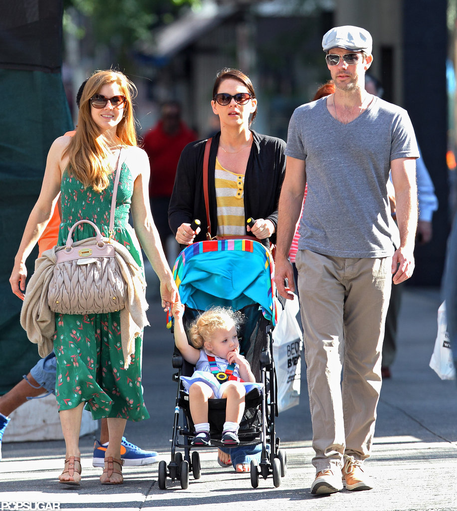 Amy Adams and her daughter, Aviana, spent the day in NYC with dad Darren Le Gallo and a friend.