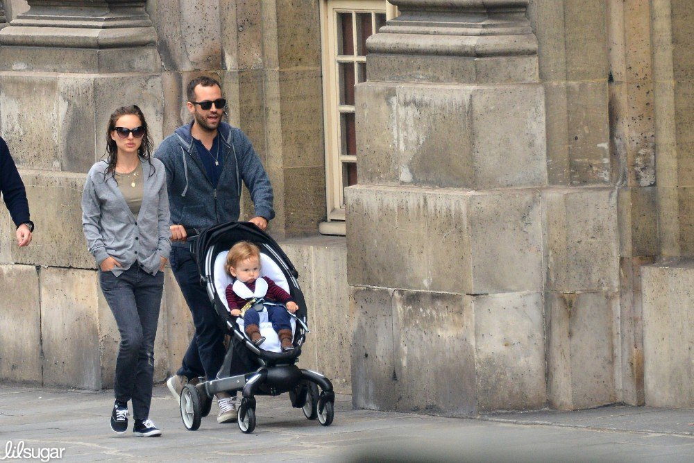 Natalie Portman walked beside husband Benjamin Millepied as he pushed their son, Aleph, in a stroller in Paris.