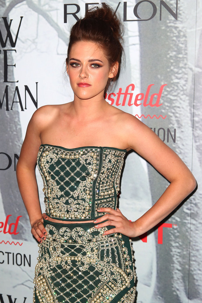 Kristen Stewart wore Balmain at a Snow White and the Huntsman premiere in Sydney.