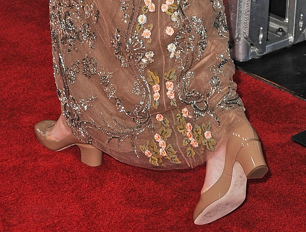 Keira's nude pumps echoed the hue of her dress, so they never distracted from the embellished detailing.