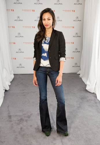 She kept it simple with a printed tee, black blazer, and flared jeans for a 2012 Sundance Film Festival appearance.