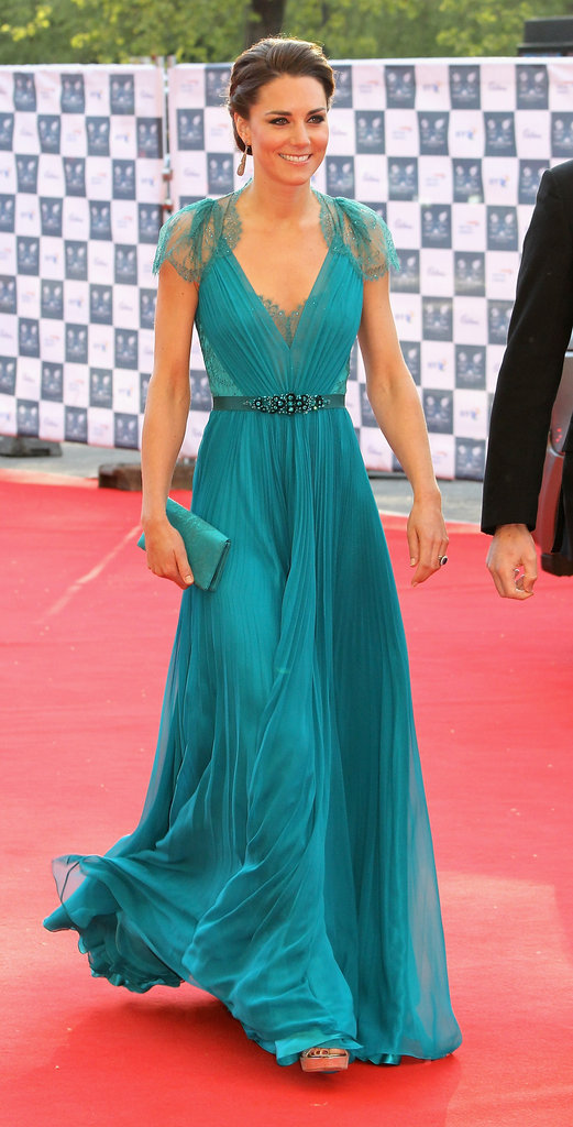 Our jaws dropped when the duchess stepped out in this lace-inset, turquoise-hued Jenny Packham gown for a concert in London in May 2012.