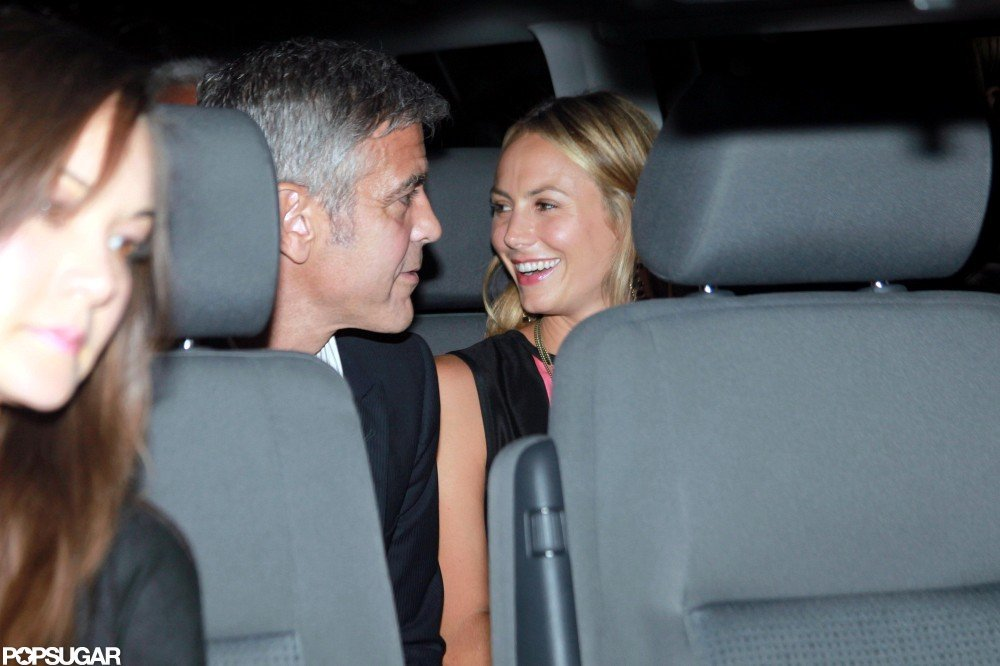 Stacy Keibler and George Clooney laughed after a Lake Como date night in June.