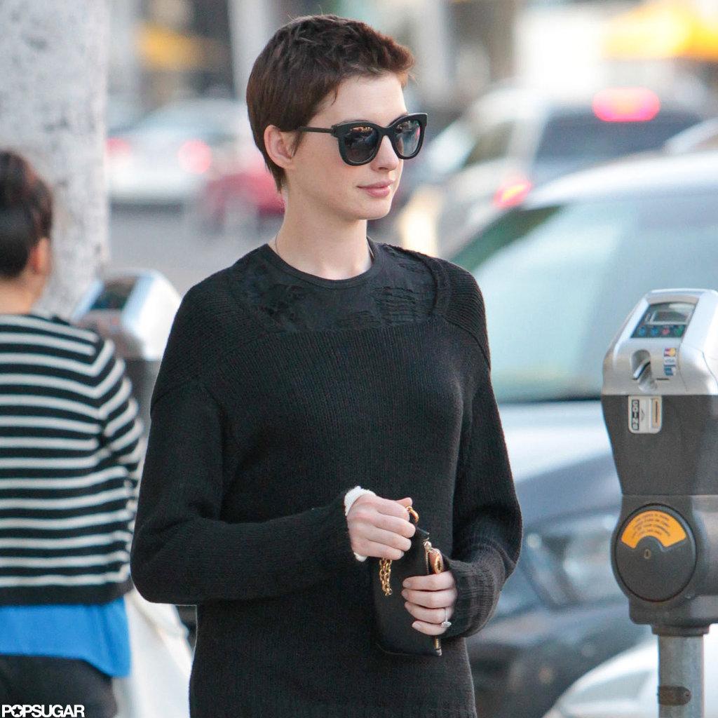 Anne Hathaway was spotted in LA with fiancé Adam Shulman.