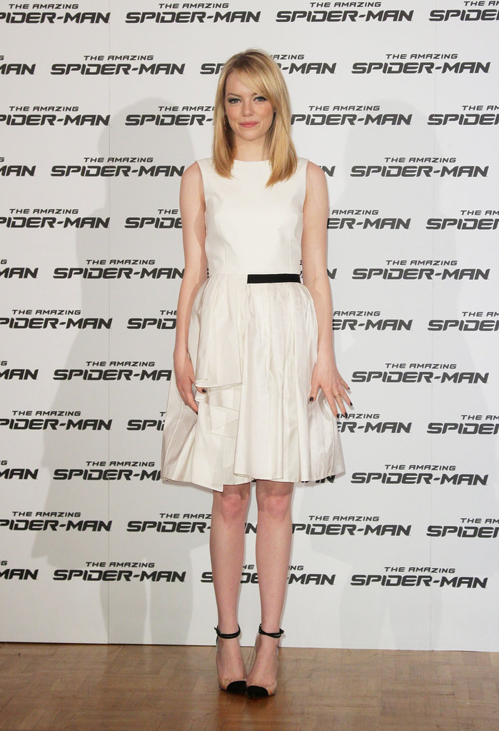 Emma returned to a simple LWD dressing MO, this time in Jason Wu, for The Amazing Spider-Man's Rome photocall. To add interest, she wore clear-infused cap-toe Christian Louboutin pumps.