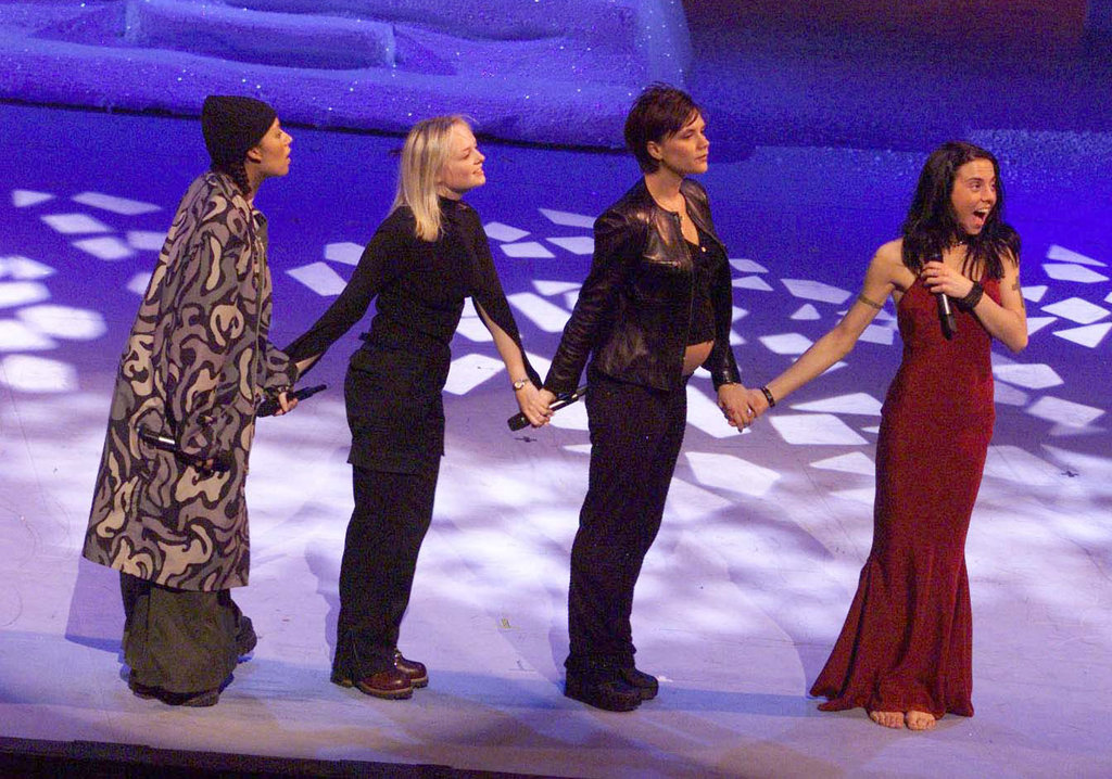 The ladies held hands at The Dominion Theatre in London in January 1998.