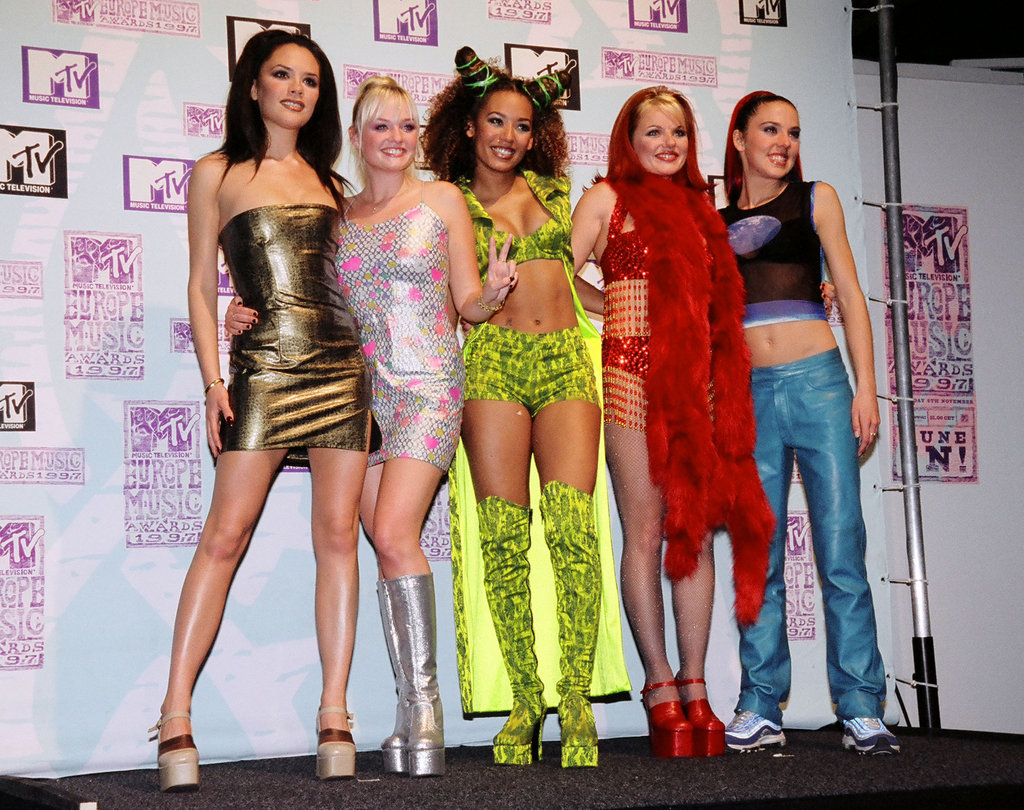 Victoria Beckham, Emma Bunton, Mel B, Geri Halliwell and Mel C chatted with press backstage at the September 1997 MTV Europe Music Awards in LA.