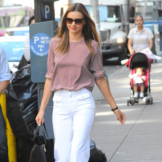 Miranda Kerr Wearing White Wide-Leg Jeans